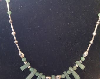 Jade with sterling silver necklace