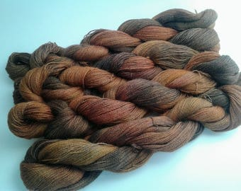 Wood land, hand dyed, baby alpaca, lace weight