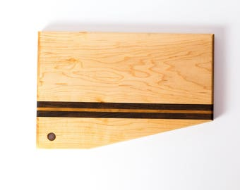 Maple Cutting Board with Walnut and Cherry Accents
