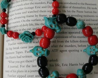 Turquoise Skulls Beaded Bracelet