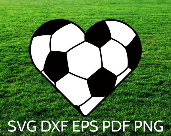 soccer svg heart ball silhouette cricut cut shaped file hearts sports clipart balls name tennis basketball etsy boys perfect