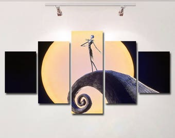 The Nightmare Before Christmas Poster Canvas Spaceship Wall Art Print  Painting Wall Hanging Home Decor High