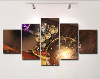 Overwatch poster Zenyatta canvas video game wall art print painting wall hanging home decor High Quality 5 piece set birthday Gift kids room