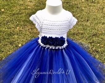 Dark blue tutu dress, Crochet tutu dress, hand made tutu dress, Flower dress