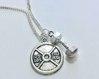 Necklace w/ Weight Plate and Dumbbell Charm
