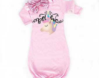 Unicorn Newborn Baby Gown In Pink