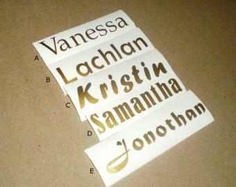 Vinyl name decal for coffee mugs/yeti tumblers/waterbottles/personalised vinyl decal /choose from 10 fonts/vinyl name decal for yeti tumbler