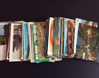 Lot of 50 Vintage Postcards, Souvenir Cards, 1970s-1990s, Ephemera