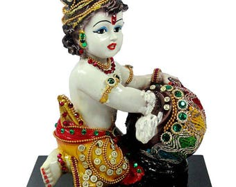 "Krishna Statue Idol (Makhan Chor 8""tall)"