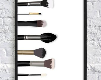Makup;Makeup Brushes;Illustration;Home Decor;wall hanging;Print;Poster;Beauty;Art;:Picture;A4/A3/A5