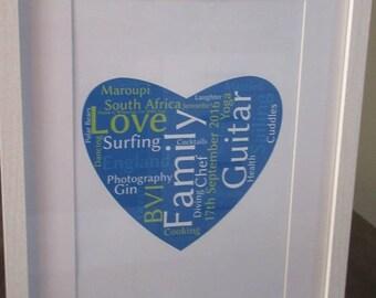 Personalised Framed Heart Word Art