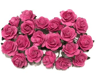 Deep Pink Open Mulberry Paper Roses Or051