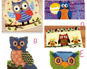 Latch Hook Kit Rug Cushion Pillow Mat DIY Craft Owl  Cross Stitch Needlework Crocheting Rug Embroidery kit Floor Carpet Gifts for kids