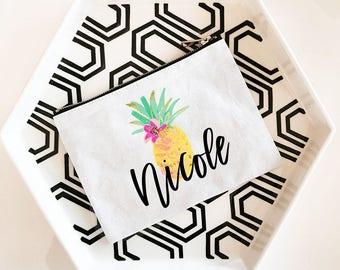 Pineapple Cosmetic Bags - Bridal Party Gift - Bride Gift, Wedding Keepsake Gifts, Shower Gift, Custom Bride Gift