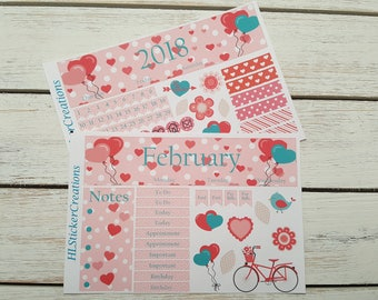 Valentines Day Monthly kit, Erin Condren, February, Hearts