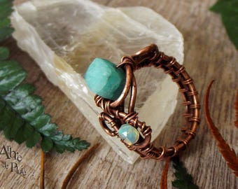 "Ring T63 copper amazonite and Opal-""The northern Kingdom""."