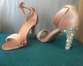 custom made size 5 heels pink swarvoski/ wedding/prom/ crystal