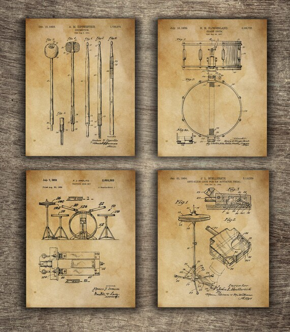 Drum Art Patent Posters Set of 4 Drummer Wall Decor Music