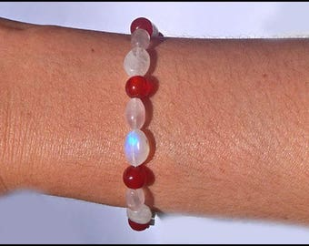 CARNELIAN, ROSE QUARTZ, Moonstone GEMSTONE and 925 sterling silver bracelet