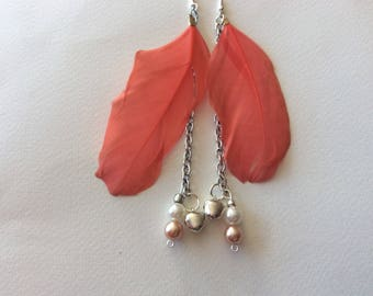 Repurposed Feather and bell boho earrings\pink peach bohemian earings\feather pearl bell indie jewellery\pink hippy chyme earrings
