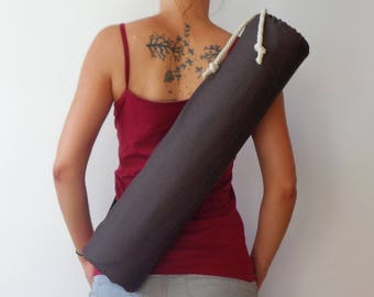 Yoga mat bag /Brown yoga mat bag / hot yoga bag/ gift for her/gift for him/yoga gift for friend/ yoga mat holder/ natural yoga mat bag