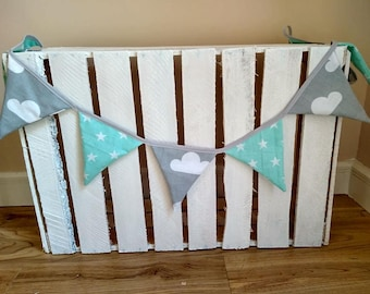 Bunting / Garland For cot 100% cotton, Hand Made Baby cot For Girl For Boy mint gray white
