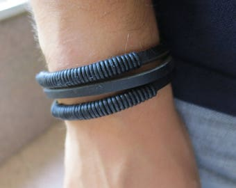 Casual bracelet in synthetic leather, black, 61 mm
