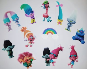 24 Trolls Cupcake Toppers Party ideas Events Kids party Birthday cupcake decorations