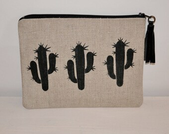 Pouch / case cactus arizona in linen with leather tassel