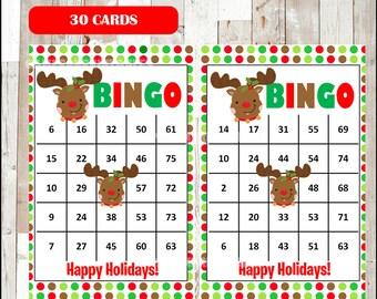 Christmas Bingo Printable Game - 30 different Cards - Christmas Game - Party Game Printable - INSTANT DOWNLOAD