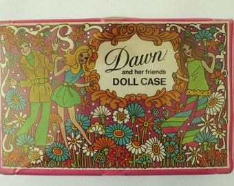 Barbie Fashion Doll Case, DAWN and her Friends, Vinyl case trunk, Carrying Case, Wardrobe doll carry case