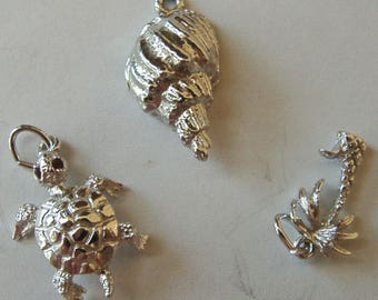 Silver Charm-Turtle, Conch, Palm Tree