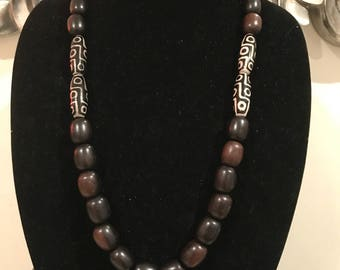 Tribal mali wood bead necklace