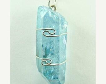 Aqua Aura Quartz wire wrapped Pendant #623