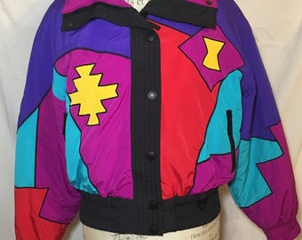 90s Tyrolia Skiwear Ski Snowboarding Jacket Geometric Bright Winter Coat