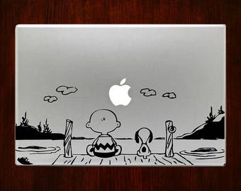 Charlie and Snoopy At the Lake Macbook Decal Stickers Mac Pro / Air / Retina Sizes 13 / 15 / 17 Laptop