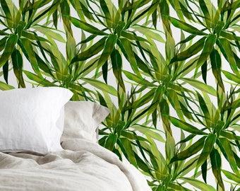 Removable Wallpaper, Tropical Wallpaper, Leaf Wallpaper, Leaves Wallpaper, Wall Paper, Peel and Stick Wallpaper, Watercolor Wallpaper - A183