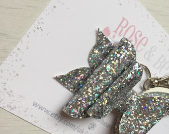 MEDIUM silver double layer glitter bow keyring
