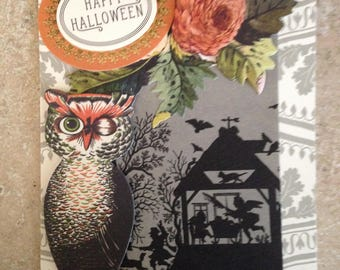 Halloween Card with Vintage Look/Handmade w/ a touch of Floral/3D/Front Features A Charming Winking Owl with Vintage Surroundings