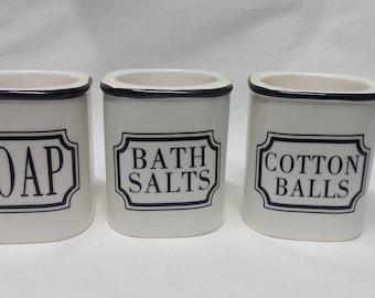 Vintage Votive Candel Holder Soap/Bath Salts / Cotton Balls Set of 3