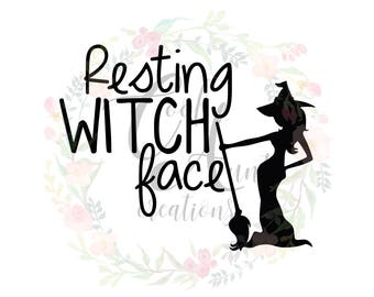 Resting Witch Face / SVG / DXF / PNG / Digital Download