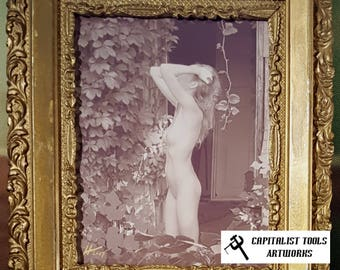 "ORIGINAL ART PHOTO:  Vintage-style nude young woman in farmhouse door, 8""x 10"", sepia print, in 19th century wood frame painted gold"
