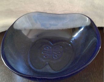 Antique Blue Glass Bowl with Decorative