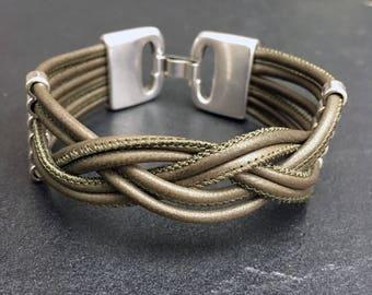 Bracelet leather olive green bracelet nickel free