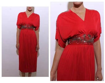 vintage 1970's 70's red maxi gown silver beaded feathers disco glam sequins gathered dress S-M