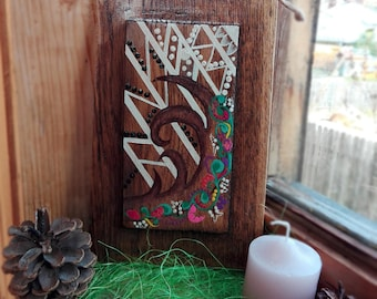 Deer Horn Painting on Wood Deer Horn Art Painted Deer Horn Rustic Wood Art Log Cabin Art Reclaimed Wood Sign Home Decor Birthday Gift Wood