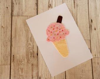 Ice-cream felt art / Ice-cream print / Sweet print / Summer print / Food print / Kitchen print / Kitchen wall art / Office decor
