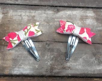 Liberty of London, hair clips, hair bows, bow clips, baby bows, pink hair clips