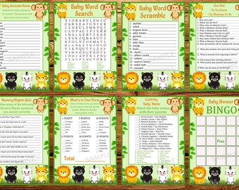 jungle baby shower games package, eight printable games, Baby shower games pack, animals baby shower games,Instant Download