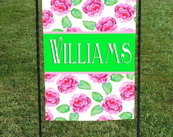 """Personalized Roses Garden Flag, Lime Green Banner with Name , Personalized Yard Art, 12""""x18"""", Watercolor Pink Roses, Housewarming Gift"""